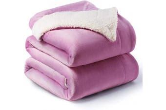 (King(270cm  x 230cm ), Lilac) - Bedsure Sherpa Fleece Blanket King Size Lalic Plush Blanket Fuzzy Soft Blanket Microfiber
