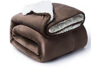 (Twin(150cm  x 200cm ), Brown) - Bedsure Sherpa Blanket Brown Twin Size 60x80 Bedding Fleece Reversible Blanket for Bed and Couch