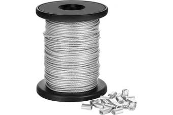 (1.5 mm x 98 Feet) - Vinyl Coated Picture Frame Hanging Wire, Stainless Steel Wire Spool with 20 Pieces Aluminium Crimping Loop Sleeve, Supports up to 50kg (1.5 mm x 30m)