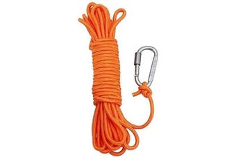 (10M, Not Reflective) - AITREASURE 10m / 6 mm Throw Rope with A Carabiner Throwable Flotation Device Water Rescue Safety Equipment for Boating
