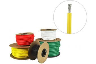 (4.9m (Coiled), Yellow) - 8 AWG Marine Wire - Tinned Copper Boat Battery Cable - Available in Black, Red, Yellow, Green, and White - Made in The USA