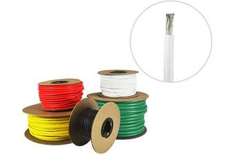 (4.9m (Coiled), White) - 8 AWG Marine Wire - Tinned Copper Boat Battery Cable - Available in Black, Red, Yellow, Green, and White - Made in The USA