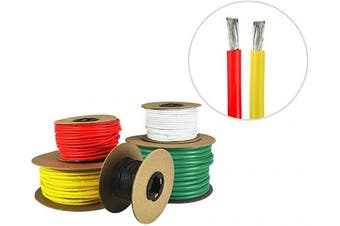 (4.9m (Coiled), Red & Yellow) - 8 AWG Marine Wire - Tinned Copper Boat Battery Cable - Available in Black, Red, Yellow, Green, and White - Made in The USA