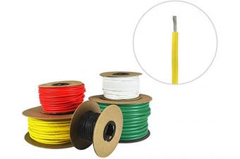 (4.9m (Coiled), Yellow) - 16 AWG Marine Wire - Tinned Copper Primary Boat Cable - Available in Black, Red, Yellow, Green, and White - Made in The USA