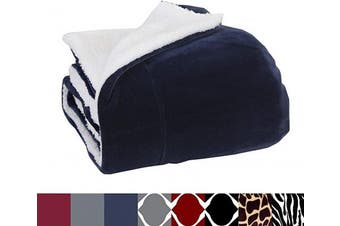 (Solid Navy Blue) - Elegant Comfort Luxury Micro-Sherpa 130cm X 150cm Ultra Plush Throw/Blanket, (50 x 60), Solid Navy Blue