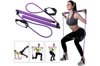 (Purple) - Greymond Portable Pilates Bar Kit Yoga Pilates Stick Muscle Toning Bar with Resistance Band, Home Gym Pilates Yoga Exercise Bar with Foot Loop for Total Body Workout