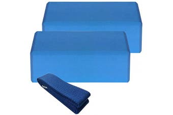 (Blue) - Lixada 2Pcs EVA Yoga Blocks with Cotton Yoga Strap Stability Blocks Yoga Strap Set for Yoga Pilates Meditation