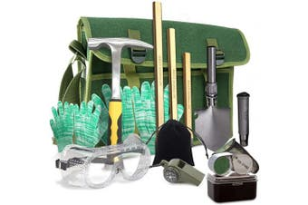 Rock Hounding & Gem Mining Geology Tool Kit (12-Pc Rock Prospecting Set) w/Rock Pick Hammer, 3 Piece Digging Chisel Set, Gloves, Musette Bag, Compass & Whistle, Goggles, Shovel Set & Jewellery Loupe