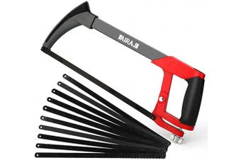AIRAJ 12 In Adjustable -Tension Hacksaw Frame with 10 Quality Steel Saw Blades, Soft Rubber Grip Handle Saws for Multifunction