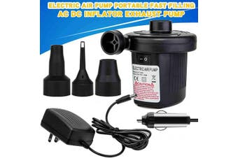 (Black) - WIDEPLORE Quick-Fill 75W AC Electric Air Pump with 3 Nozzles, Deflates and Inflates 110V AC/12V DC, Air Flow 450L/Min,Including Car Power Adapter & Home Power Adapter,Black