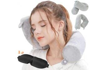 (Grey) - Lucear Twist Memory Foam Travel Pillow Neck, Chin, Lumbar Leg Support Travelling on Aeroplane, Bus, Train at Home(Grey Memory Foam)