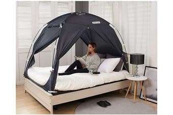 (Twin, Charcoal) - BESTEN Floorless Indoor Privacy Tent on Bed for Warm and Cosy Sleep Inside Draughty Room (Twin, Charcoal)