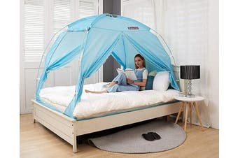 (Twin, Blue Mint(cp)) - BESTEN Floorless Indoor Privacy Tent on Bed with Colour Poles for Cosy Sleep in Draughty Rooms (Twin, Mint)