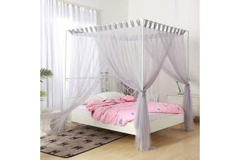 (King, Gray) - Mengersi Simple 4 Corners Post Curtain Bed Canopy Bed Frame Canopies Net,Bedroom Decoration Accessories(King,Grey)