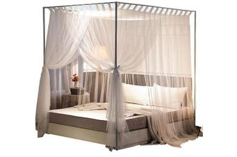 (California King, White) - Mengersi Simple 4 Corners Post Curtain Bed Canopy Bed Frame Canopies Net,Bedroom Decoration Accessories(California King,White)