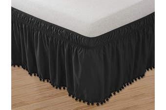 (Queen/King, Black) - Elegant Comfort Luxury Top-Knot Tassle Pompom Fringe Ruffle Bed Skirt -Wrap Around Style- Elastic Bed Wrap- Wrinkle Resistant 41cm Drop, Queen/King, Black