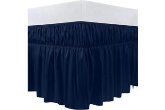 (King, Navy) - Utopia Bedding Elastic Bed Ruffle - Easy Wrap Around Dust Ruffle - 41cm Tailored Drop - Hotel Quality, Shrinkage and Fade Resistant (King, Navy)
