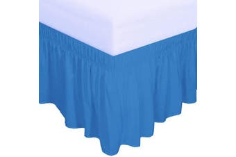 (Queen/King(Drop, 46cm ), Blue) - PureFit Wrap Around Ruffled Bed Skirt with Adjustable Elastic Belt - 46cm Drop Easy to Put On, Wrinkle Free Bedskirt Dust Ruffles, Bed Frame Cover for Queen, King and C-King Size Beds, Blue