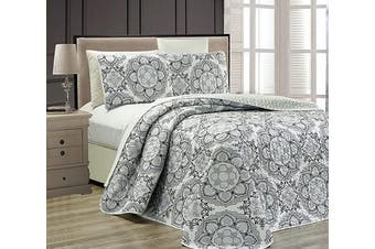 (Twin, Grey) - Fancy Collection Cover Modern Reversible White New #Linda (Grey, Twin)