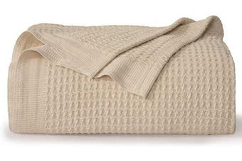 (King, Beige) - Bedsure 100% Cotton Thermal Blanket - 405GSM Soft Blanket in Waffle Weave for Home Decoration - Perfect for Layering Any Bed for All-Season - King Size (260cm x 230cm ), Beige
