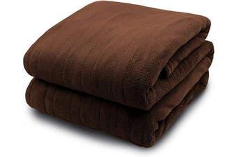 (Queen, Chocolate) - Biddeford 2033-905291-711 MicroPlush Electric Heated Blanket Queen Chocolate