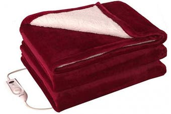 (Red&white) - Electric Heated Throw Blanket 130cm x 150cm , Double Side Flannel Heated Blanket with 4 Heating Levels and Overheating Protection System (Red White)