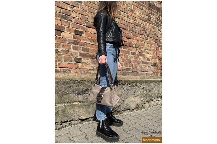 (Dark Gray) - ital. Ladies Handbag Tote Satchel leather bag Suede Small TL02