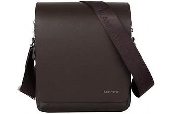 (Brown1) - Leathario Men's Leather Shoulder Bag 28cm iPad Bag Cross Body Tablet Small Messenger Business Casual Travel Daily Brown