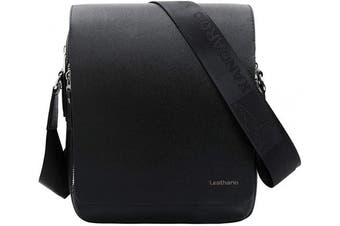 (Black33) - Leathario Men's Leather Shoulder Bag 28cm iPad Bag Cross Body Tablet Small Messenger Business Casual Travel Daily Black