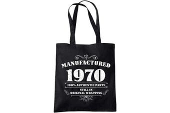 50th Birthday Gifts for Women Men Manufactured 1970 Funny Tote Bags Present BLACK