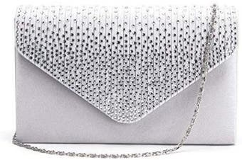 (Silver) - Anladia Ladies Satin Diamante Clutch Bag Bridal Evening Party Prom Envelope Purse