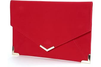 (Red) - Suede Velvet Clutch Evening Bag Wedding Envelope Bag Prom Party Handbag Golden Trim