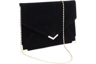 (Black) - Suede Velvet Clutch Evening Bag Wedding Envelope Bag Prom Party Handbag Golden Trim