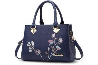 (Blue) - NICOLE & DORIS Retro Women Top Handle Handbags Tote Purse Shoulder Bag Crossbody Bag PU Leather Blue