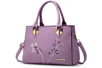 (Purple) - NICOLE & DORIS Retro Women Top Handle Handbags Tote Purse Shoulder Bag Crossbody Bag PU Leather Purple