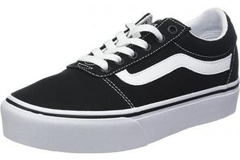 (5.5 UK, Black Canvas Black White 187) - Vans Women's Ward Platform Canvas Low-Top Sneakers