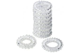 nuoshen 10 Pcs Spiral Hair Ties, Coil Hair Ties Spiral Ponytail Holder Plastic Hair Coil Bands for Women Girls (Clear)