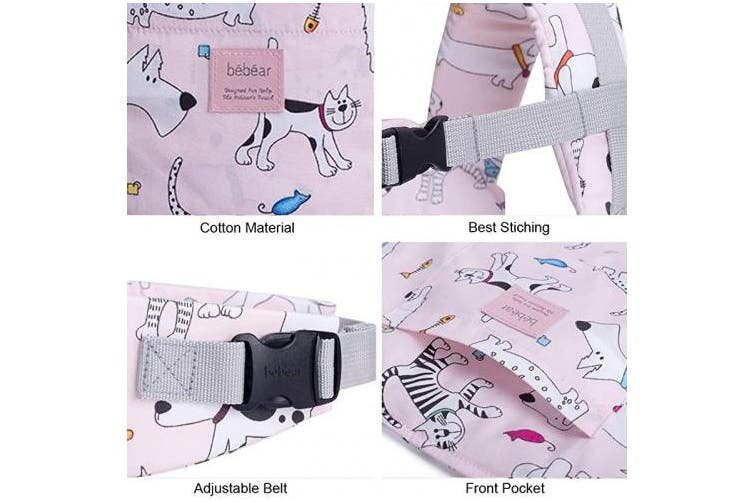 (Pink with Dog) - Bebamour Baby Doll Carrier for Girls, 3 in 1 Baby Carrier Sling for Kids, 100% Cotton, Pink with Dog