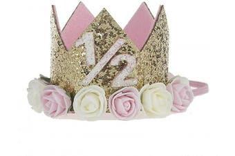 """(1/2st Birthday crown) - Baby Princess Crown""""1.3cm Tiara Kids First Birthday Hat Sparkle Gold Flower Design (1/2st Birthday Crown)"""