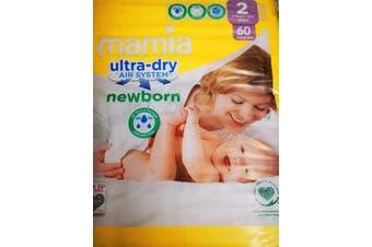 Nappies Size 2 Mamia Jumbo Pack 60 + Free Fred & Flo Biodegradable Baby Wipes + Free Fred & Flo Nappy Sacks