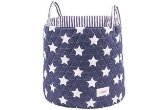 Cotton Storage Basket, Large, 45 * 40 – Award Winning Collapsible Portable Wipe Clean Cotton Basket, Nursery Organiser for Storage Baby Storage, Kid Storage, Blankets, Clothes and Toys, Blue Stars