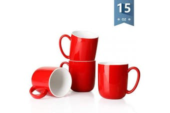 (Red) - Sweese 604.103 Porcelain Mugs for Coffee, Tea, Cocoa, 440ml, Set of 4, Red
