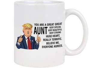(White) - Great Aunt Coffee Mug Auntie Coffee Mug Great Aunt Gifts from Niece Nephew Mothers Day Gifts for Aunt Funny Trump Coffee Mug for Mother's Day Birthday 330ml