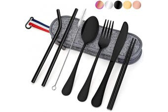 (8-Piece Black) - Travel Utensils with Case, E-far 8-Piece Reusable Camping Silverware Set, Portable Stainless Steel Cutlery Flatware Set Includes Knife, Fork, Spoon, Chopsticks, Straws, Cleaning Brush (Black)