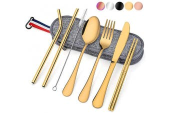 (8-Piece Gold) - Travel Utensils with Case, E-far 8-Piece Reusable Camping Silverware Set, Portable Stainless Steel Cutlery Flatware Set Includes Knife, Fork, Spoon, Chopsticks, Straws, Cleaning Brush (Gold)