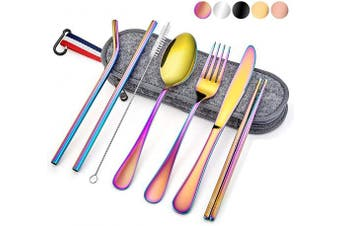 (8-Piece Rainbow) - Travel Utensils with Case, E-far 8-Piece Reusable Camping Silverware Set, Portable Stainless Steel Cutlery Flatware Set Includes Knife, Fork, Spoon, Chopsticks, Straws, Cleaning Brush (Rainbow)