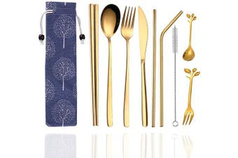 (Golden Cutlery Set) - Cennsa Cutlery Set, Portable Reusable Gold Travel Cutlery & Utensils Set with Case, 9 Pcs Stainless Steel Travel Cutlery Set Including Reusable Fork Knife Spoon Metal Chopsticks Straws