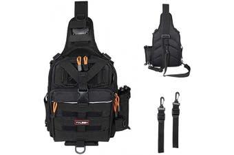 (C:Standard(11.81*8.66*4.33inch)-Black) - YVLEEN Fishing Tackle Backpack - Outdoor Large Fishing Tackle Storage Box Bag - Water-Resistant Fishing Backpack with Rod Holder Shoulder Backpack