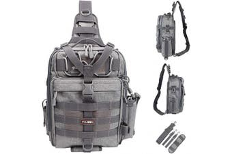 (G:Large(14.17*10.24*4.72inch)-Gray) - YVLEEN Fishing Tackle Backpack - Outdoor Large Fishing Tackle Storage Box Bag - Water-Resistant Fishing Backpack with Rod Holder Shoulder Backpack