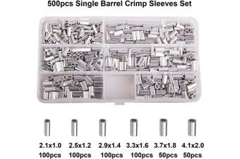 (Oval-500pcs) - AGOOL Aluminium Single Barrel Crimp Sleeves Kit - 500/600PCS Aluminium Crimping Loop Sleeve Assortment Set Wire Rope Cable Fishing Line Tube Connectors for Leader Rigging Oval/Round